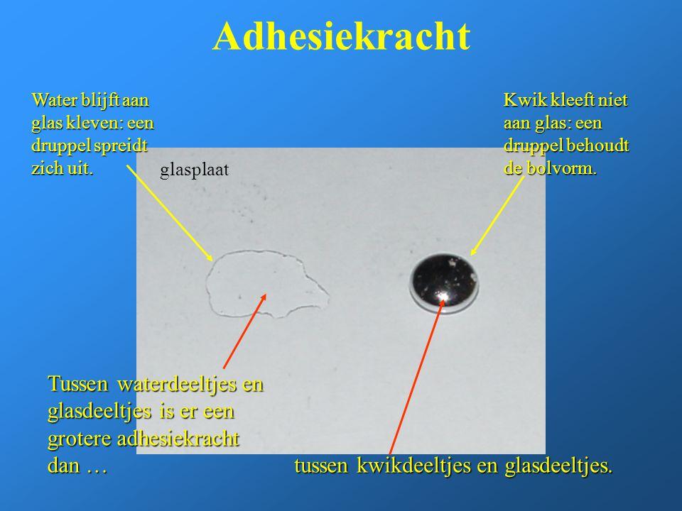 Adhesiekracht Water blijft aan glas kleven: een druppel spreidt zich uit. Kwik kleeft niet aan glas: een druppel behoudt de bolvorm.