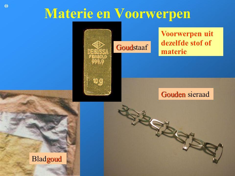 Materie en Voorwerpen Voorwerpen uit dezelfde stof of materie