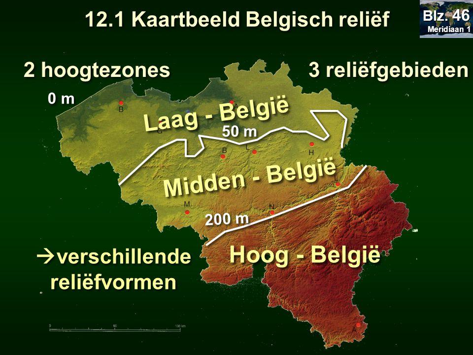 12.1 Kaartbeeld Belgisch reliëf verschillende reliëfvormen