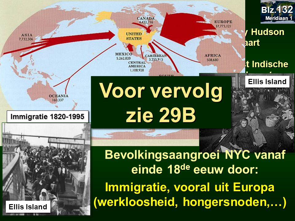Immigratie 1820-1995 29.2.3 Geschiedenis. Meridiaan 1. Blz.132. 29.7 Nederlanders in Manhattan.