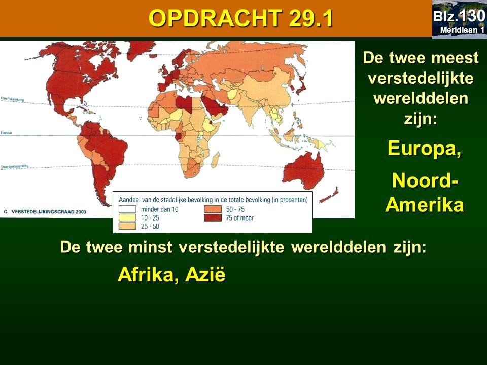OPDRACHT 29.1 Europa, Noord-Amerika Afrika, Azië