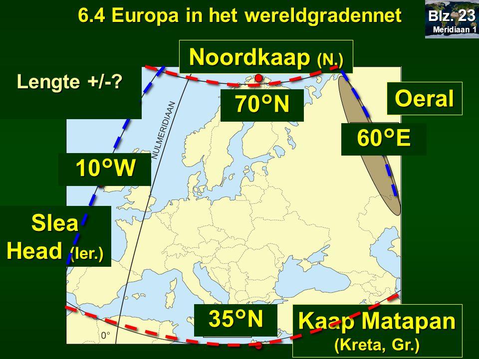6.4 Europa in het wereldgradennet Kaap Matapan (Kreta, Gr.)
