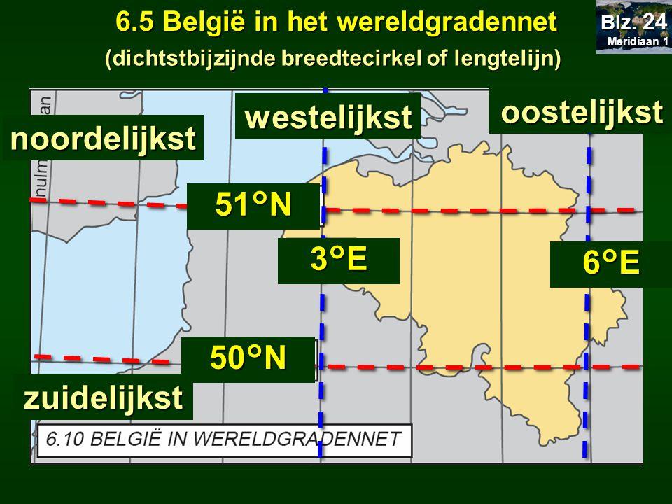 oostelijkst westelijkst noordelijkst 51°N 3°E 6°E 50°N zuidelijkst