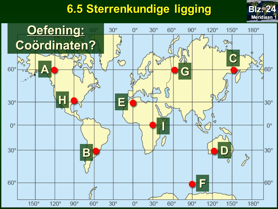 6.5 Sterrenkundige ligging Oefening: Coördinaten