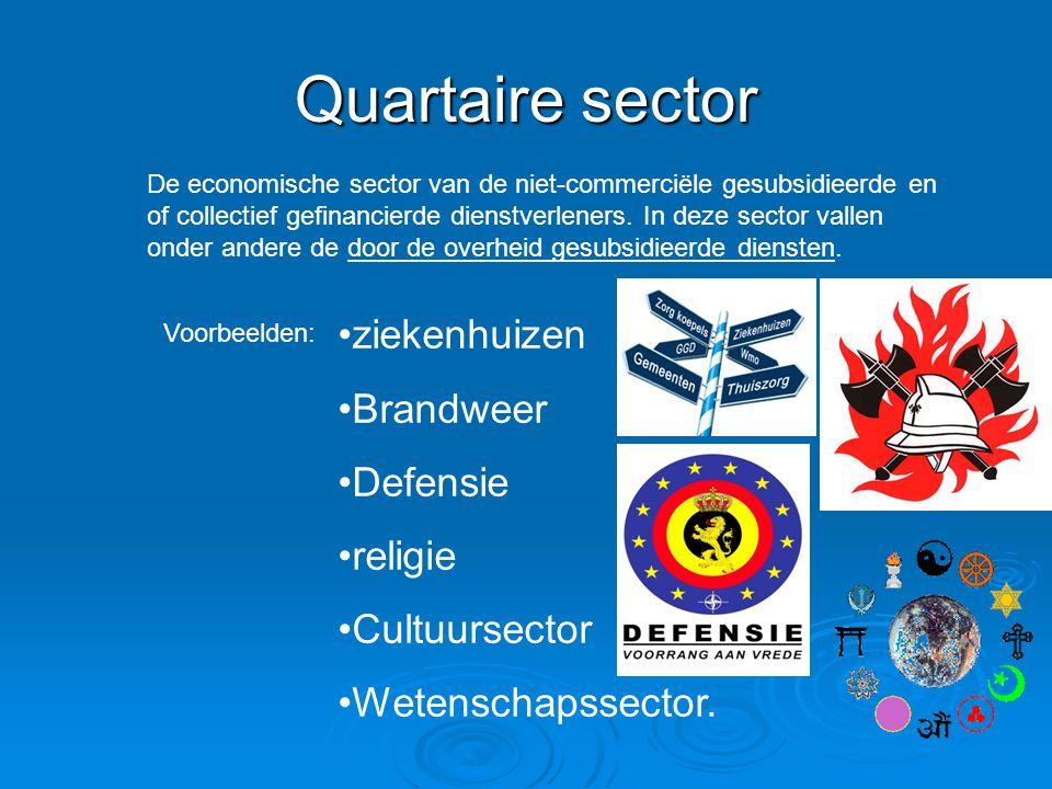 Quartaire sector ziekenhuizen Brandweer Defensie religie Cultuursector