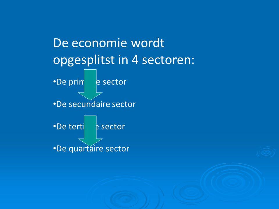 De economie wordt opgesplitst in 4 sectoren: