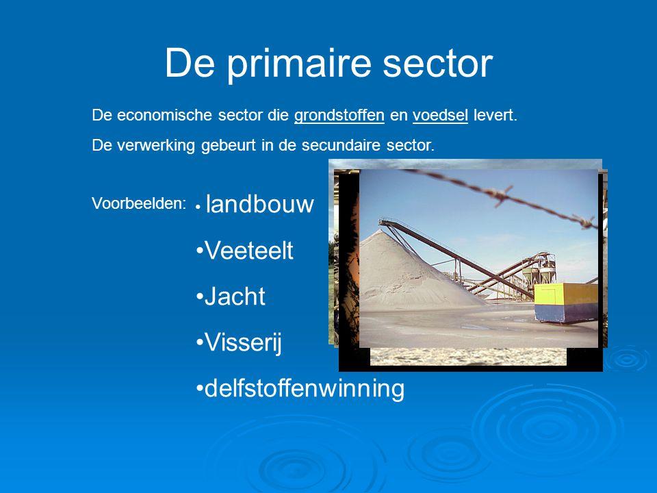 De primaire sector Veeteelt Jacht Visserij delfstoffenwinning