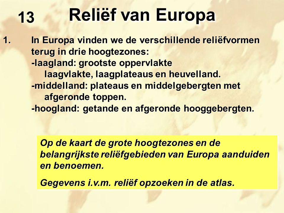 Reliëf van Europa 13. 1. In Europa vinden we de verschillende reliëfvormen terug in drie hoogtezones: