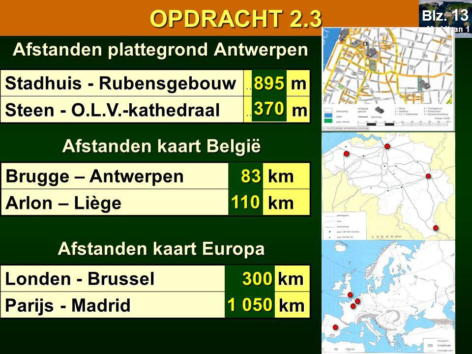 Afstanden plattegrond Antwerpen