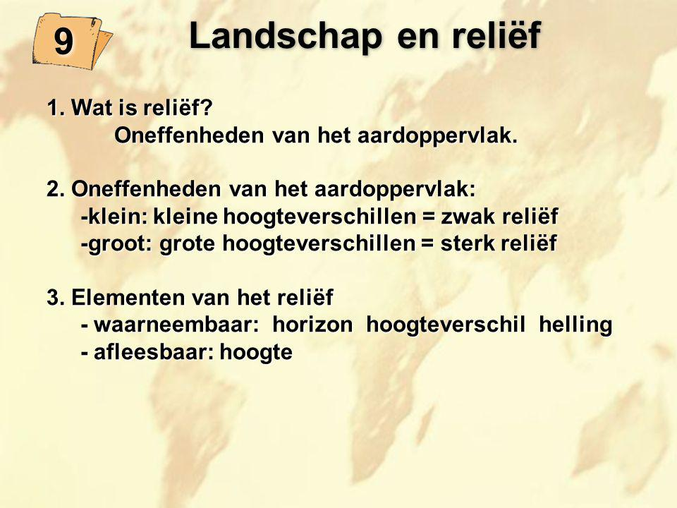 Landschap en reliëf 9 1. Wat is reliëf
