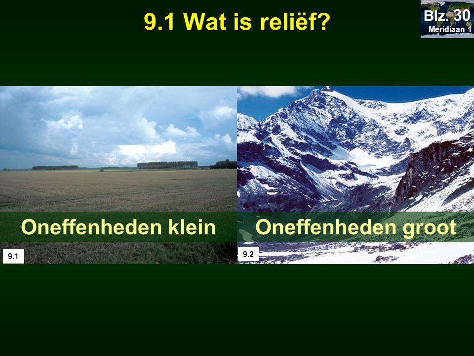 9.1 Wat is reliëf Oneffenheden klein Oneffenheden groot Blz. 30