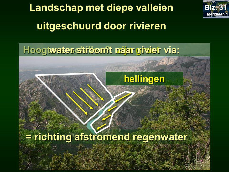 Landschap met diepe valleien uitgeschuurd door rivieren