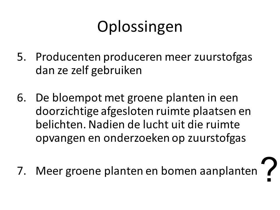 Oplossingen Producenten produceren meer zuurstofgas dan ze zelf gebruiken.