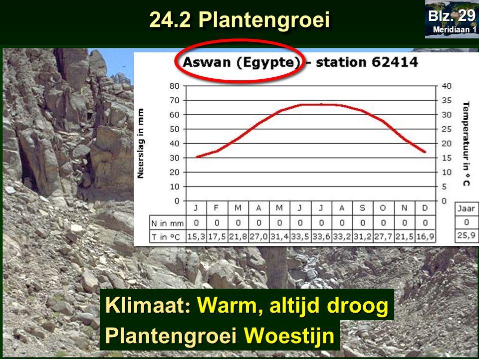24.2 Plantengroei Klimaat: Warm, altijd droog Plantengroei: Woestijn