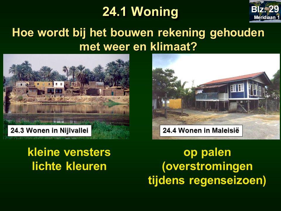 Meridiaan 1 Blz. 29. 24.1 Woning. Hoe wordt bij het bouwen rekening gehouden met weer en klimaat