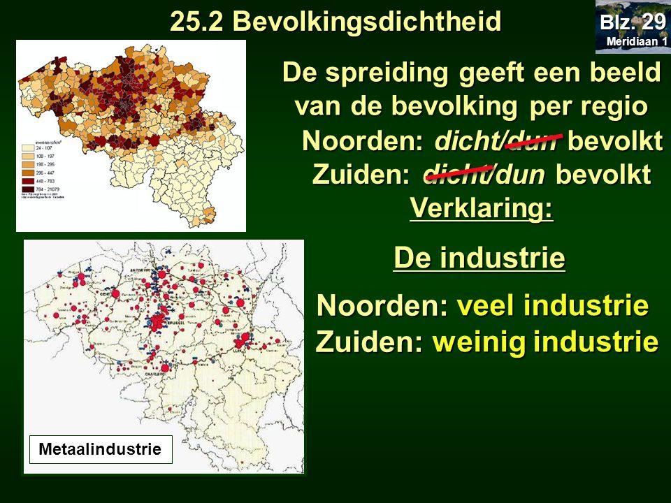 De industrie Noorden: Zuiden: veel industrie weinig industrie