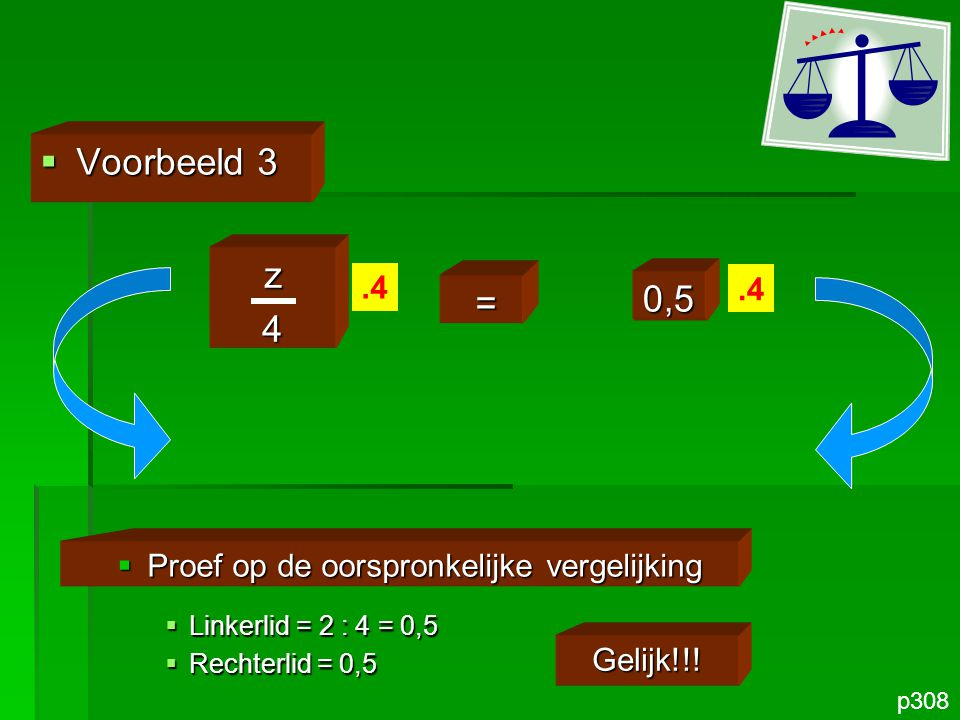 Voorbeeld 3 z. 4. .4. .4. z. = = 0,5. 2. Proef op de oorspronkelijke vergelijking. Linkerlid = 2 : 4 = 0,5.