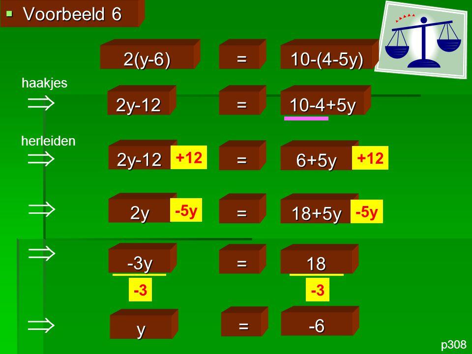      Voorbeeld 6 2(y-6) = 10-(4-5y) 2y-12 = 10-4+5y 2y-12 = 6+5y