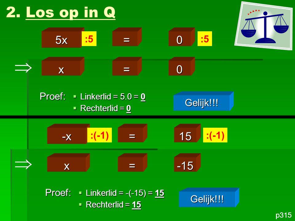   2. Los op in Q 5x = x = -x = 15 x = -15 :5 :5 Proef: Gelijk!!!