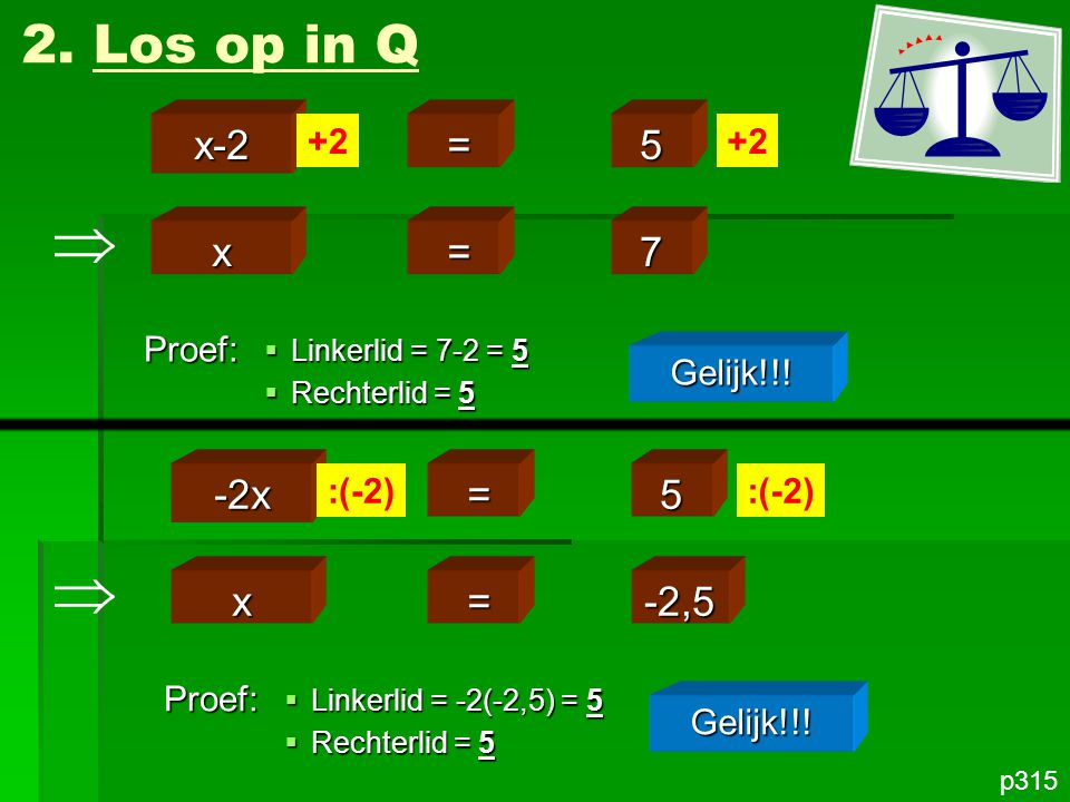   2. Los op in Q x-2 = 5 x = 7 -2x = 5 x = -2,5 +2 +2 Proef: