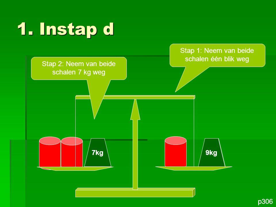 1. Instap d Stap 1: Neem van beide schalen één blik weg