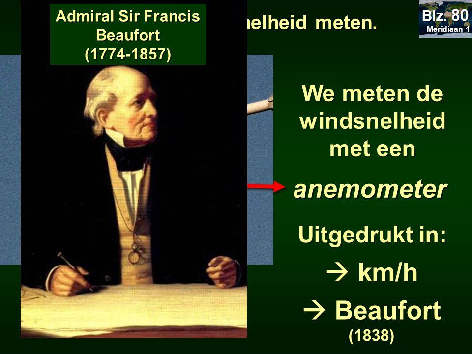 Admiral Sir Francis Beaufort We meten de windsnelheid met een