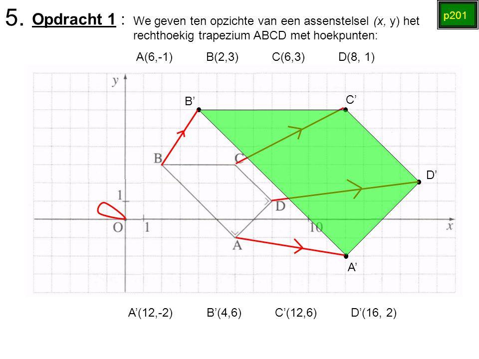5. Opdracht 1 : p201. We geven ten opzichte van een assenstelsel (x, y) het rechthoekig trapezium ABCD met hoekpunten: