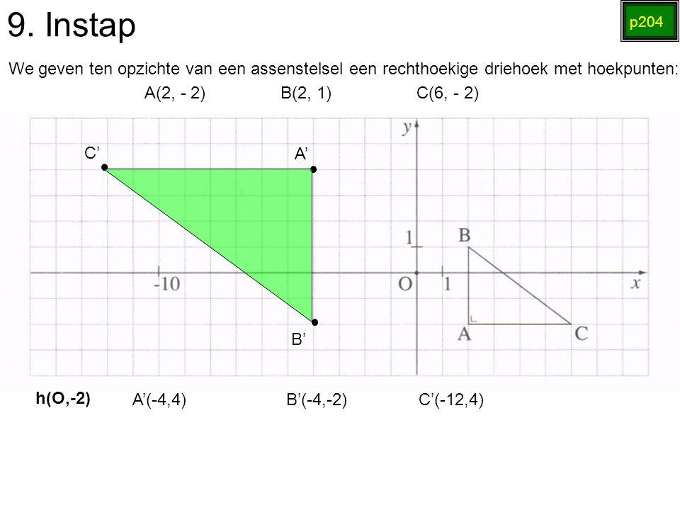 9. Instap p204. We geven ten opzichte van een assenstelsel een rechthoekige driehoek met hoekpunten: A(2, - 2) B(2, 1) C(6, - 2)