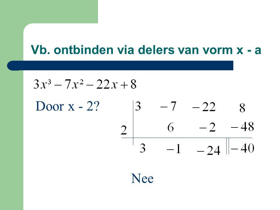 Vb. ontbinden via delers van vorm x - a
