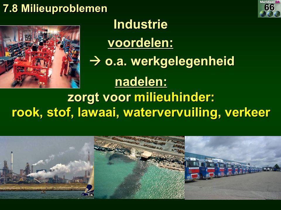 zorgt voor milieuhinder: rook, stof, lawaai, watervervuiling, verkeer