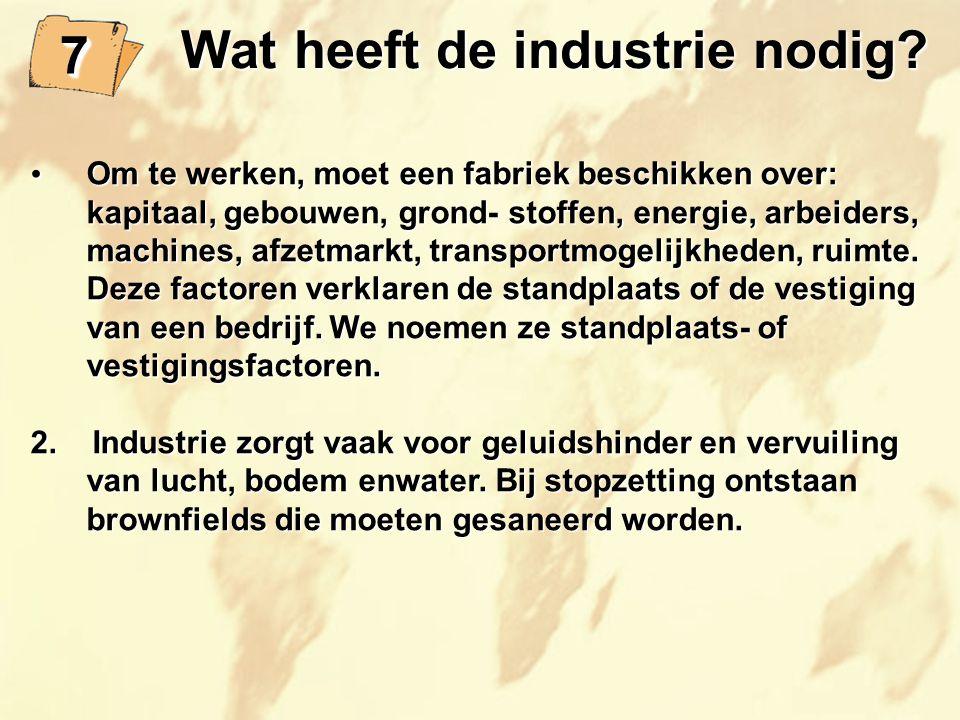 Wat heeft de industrie nodig