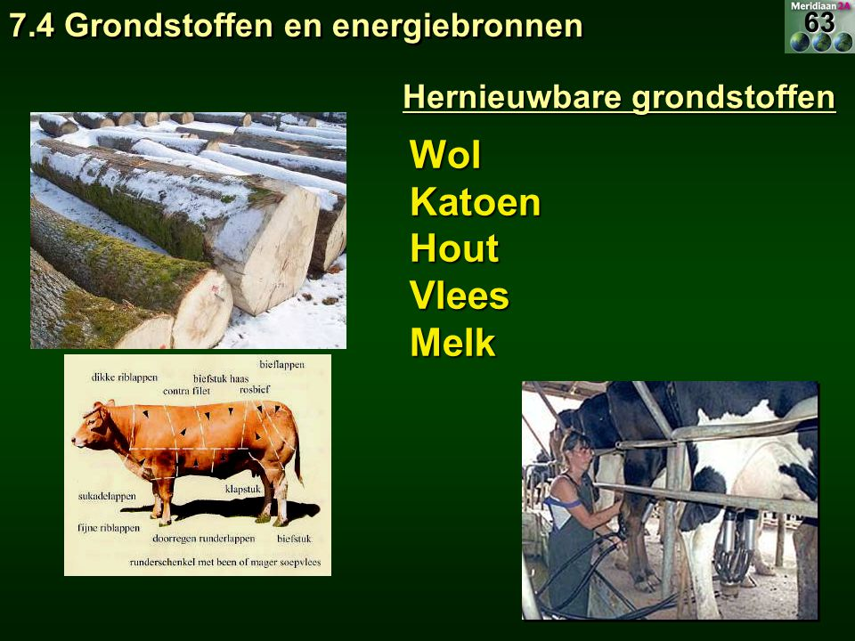 Wol Katoen Hout Vlees Melk 7.4 Grondstoffen en energiebronnen
