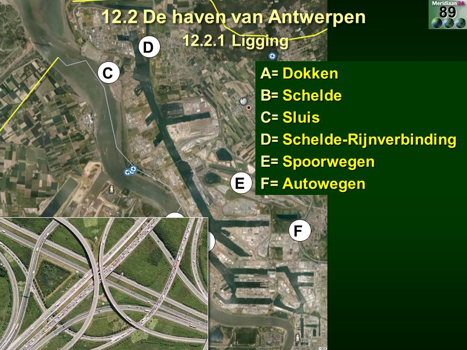 12.2 De haven van Antwerpen 12.2.1 Ligging 89 D C A= Dokken B= Schelde