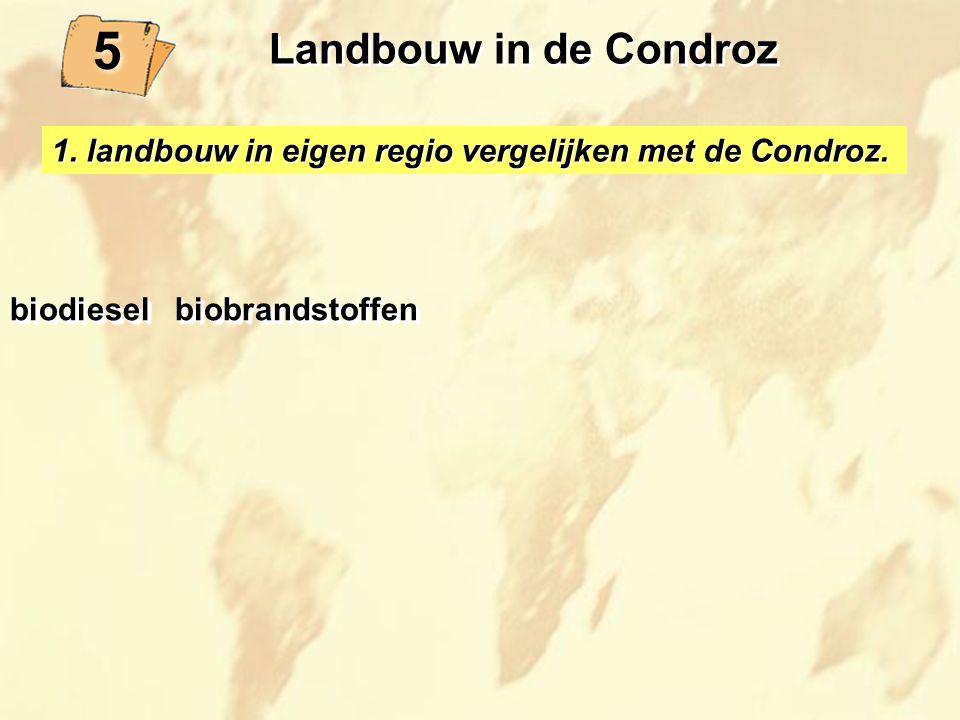 Landbouw in de Condroz 5. 1. landbouw in eigen regio vergelijken met de Condroz. biodiesel biobrandstoffen.