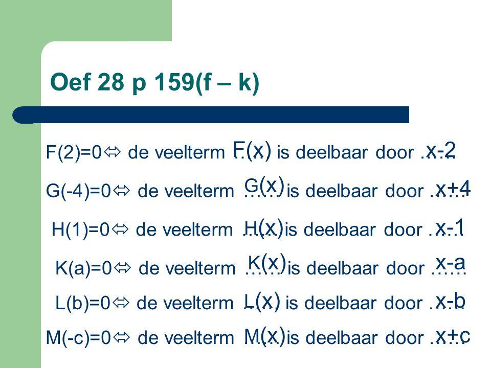 Oef 28 p 159(f – k) F(x) x-2. F(2)=0 de veelterm …… is deelbaar door …… G(x) x+4. G(-4)=0 de veelterm …… is deelbaar door ……