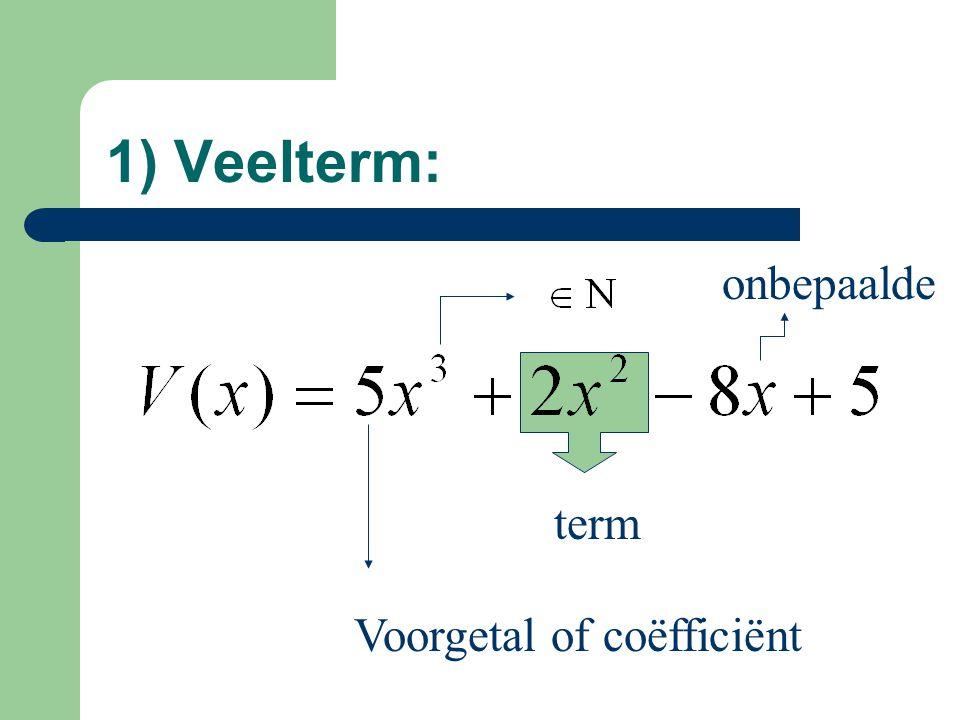 1) Veelterm: onbepaalde term Voorgetal of coëfficiënt