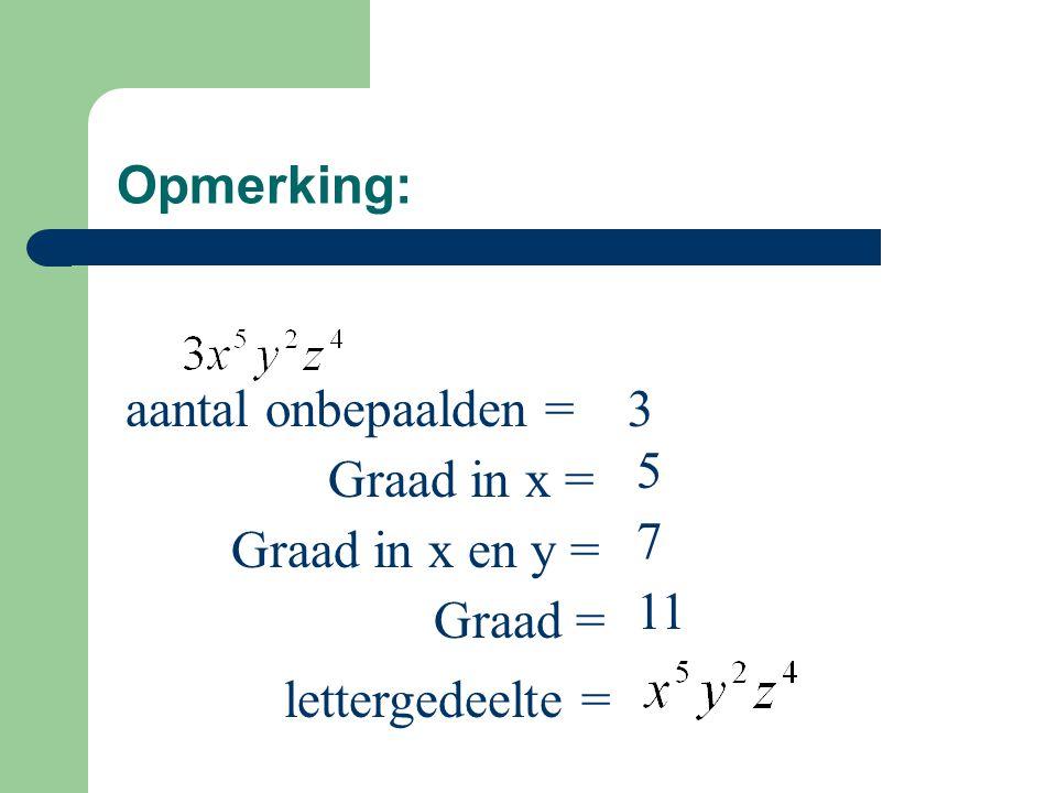 Opmerking: aantal onbepaalden = 3 5 Graad in x = 7 Graad in x en y = 11 Graad = lettergedeelte =