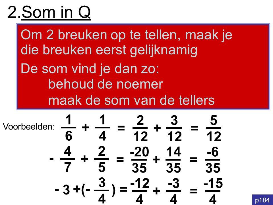 2.Som in Q Om 2 breuken op te tellen, maak je
