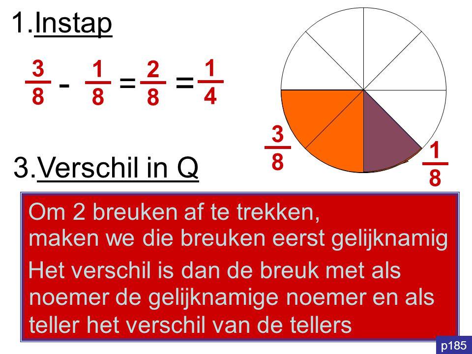 - = = 1.Instap 3.Verschil in Q 3 1 2 1 8 8 4 3 8 1 8
