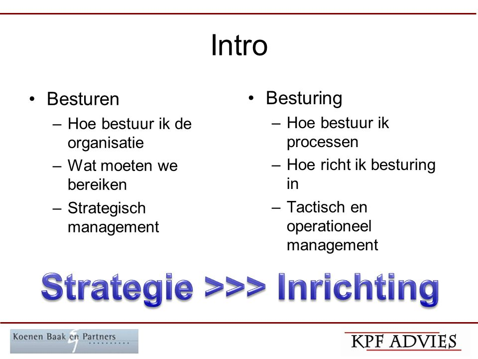 Strategie >>> Inrichting