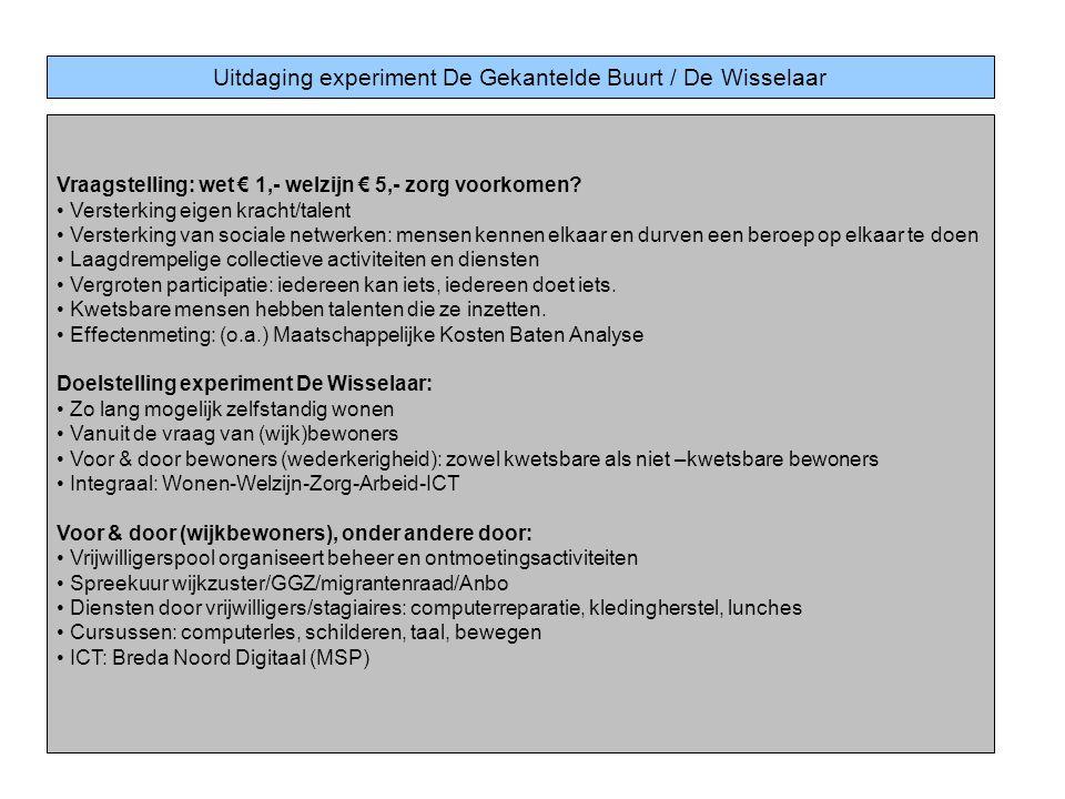 Uitdaging experiment De Gekantelde Buurt / De Wisselaar
