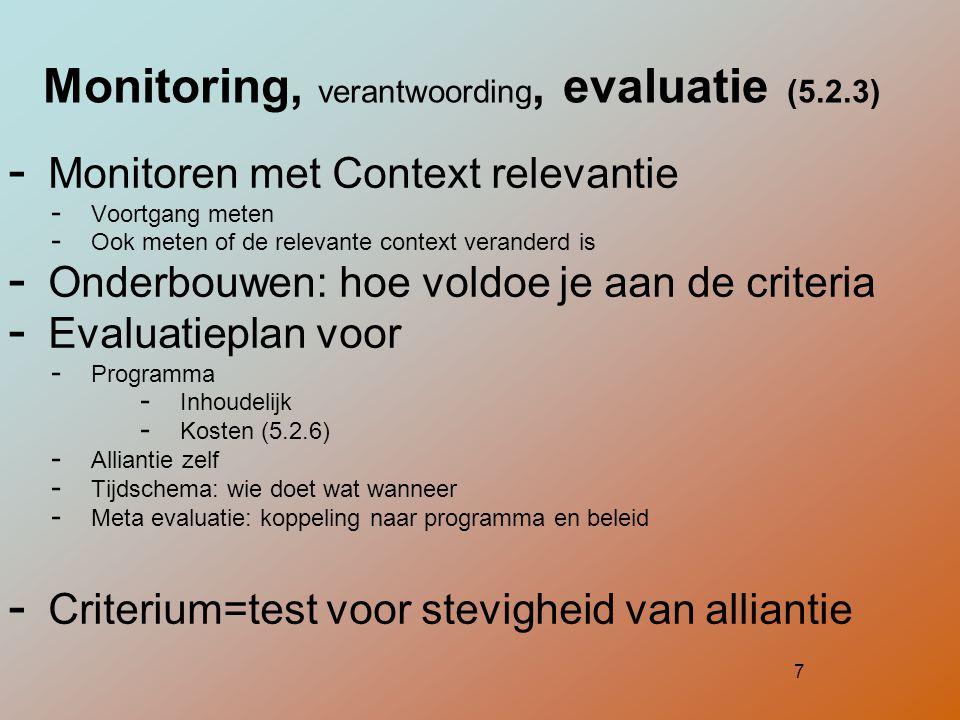 Monitoring, verantwoording, evaluatie (5.2.3)