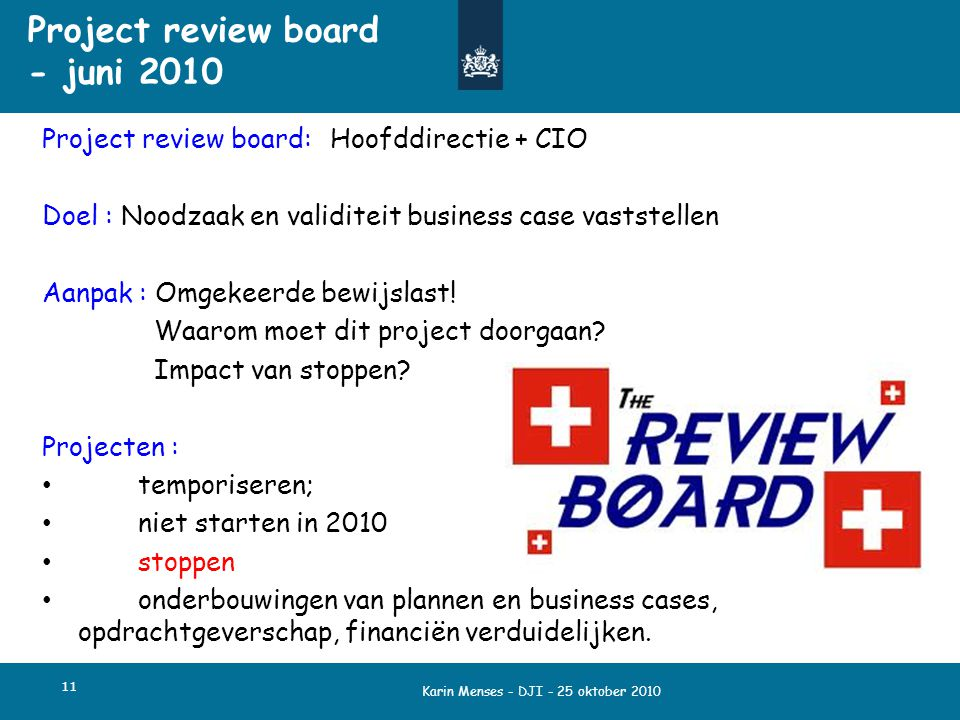 Project review board - juni 2010