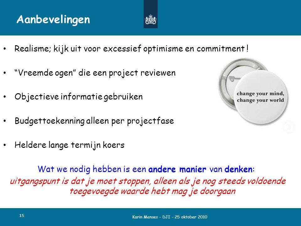 Aanbevelingen Realisme; kijk uit voor excessief optimisme en commitment ! Vreemde ogen die een project reviewen.