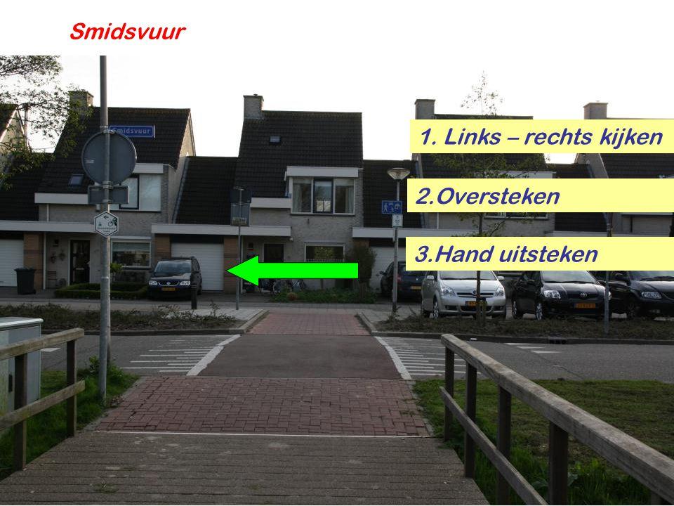 Smidsvuur 1. Links – rechts kijken 2.Oversteken 3.Hand uitsteken