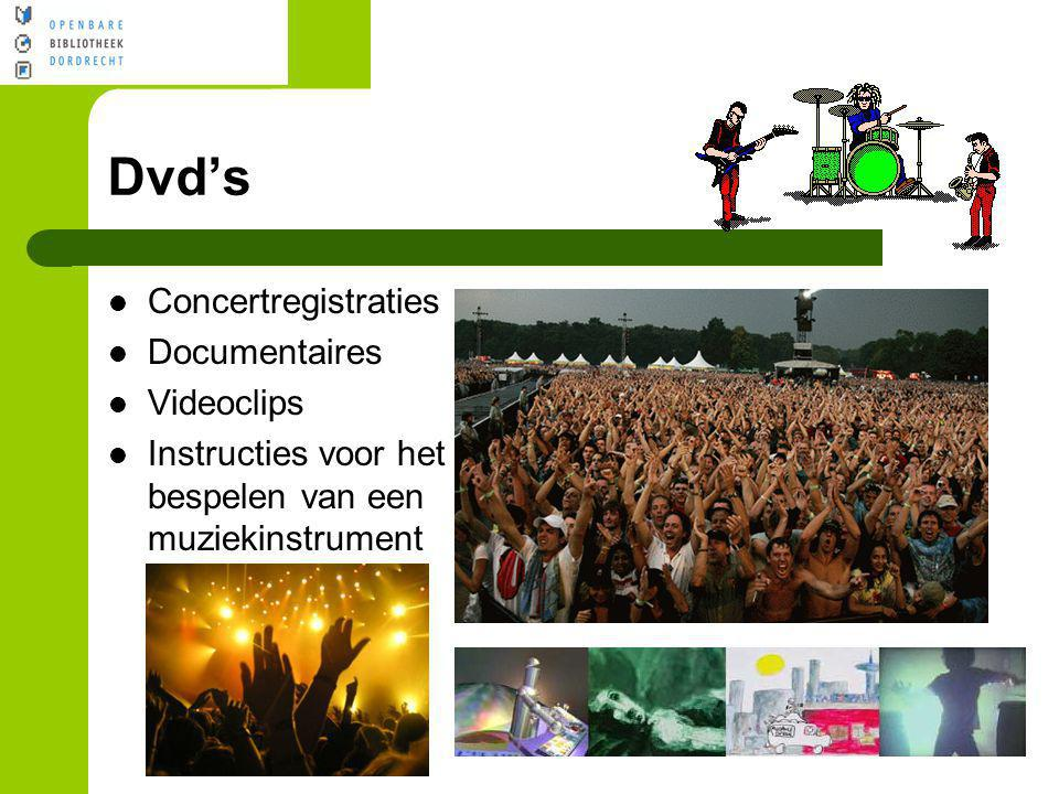 Dvd's Concertregistraties Documentaires Videoclips