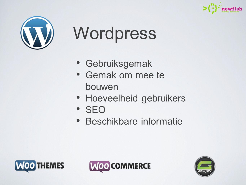 Wordpress Gebruiksgemak Gemak om mee te bouwen Hoeveelheid gebruikers