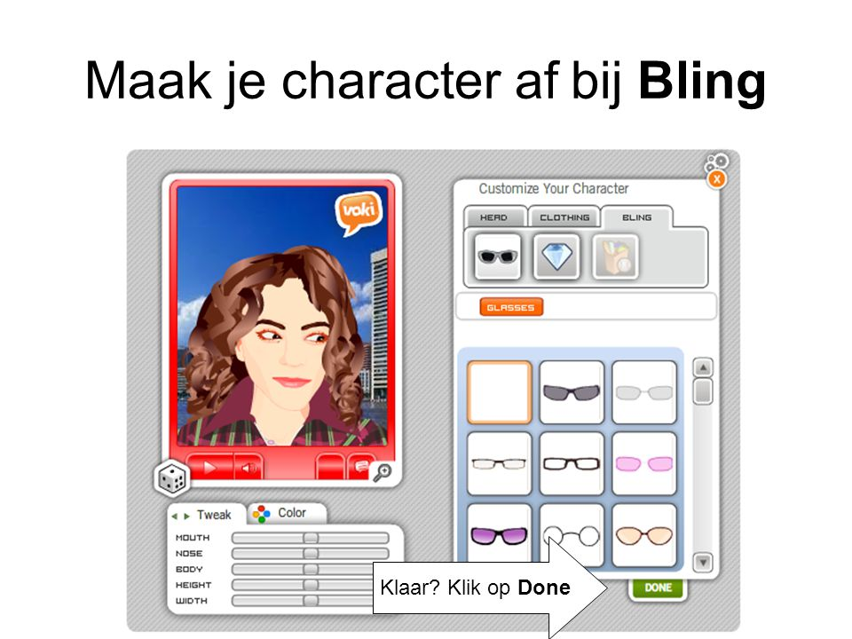 Maak je character af bij Bling
