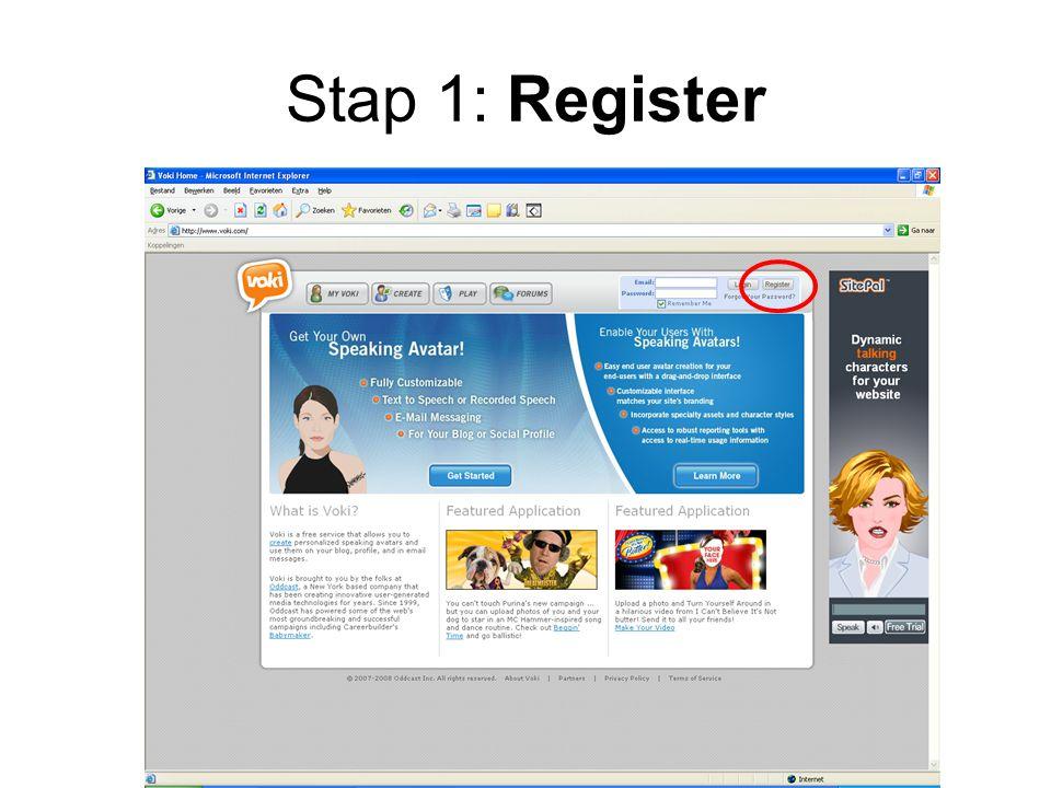 Stap 1: Register