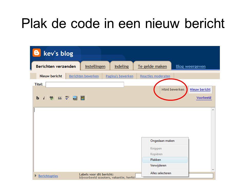 Plak de code in een nieuw bericht